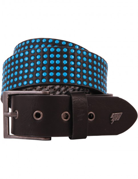 Lowlife Wallace Leather Belt in Black 3D Blue