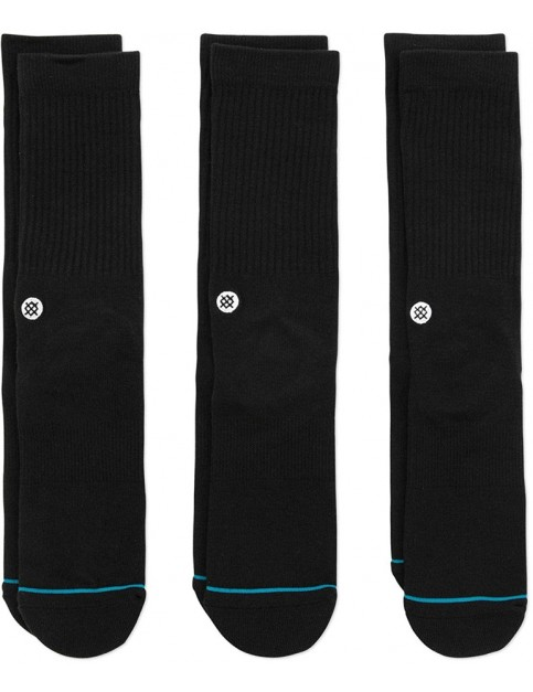 Stance Icon 3 Pack Crew Socks in Black