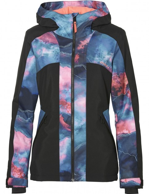 ONeill Allure Snow Jacket in Blue Aop W/ Pink-Purple