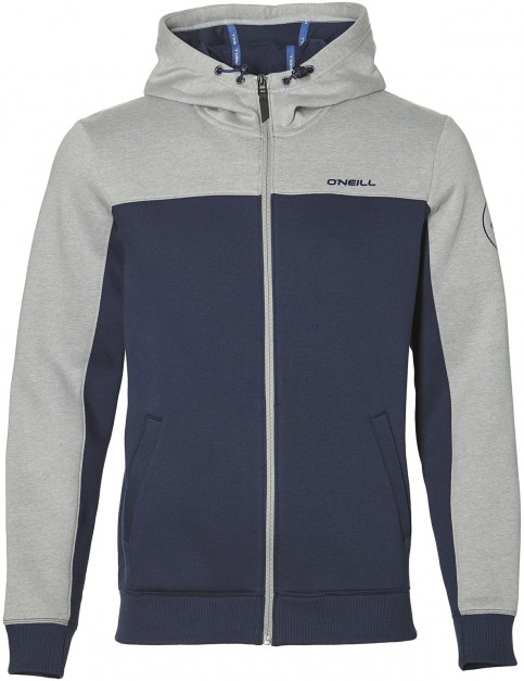 ONeill Block Zipped Hoody in Silver Melee