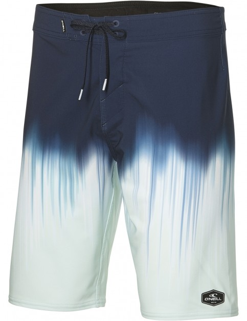 ONeill Hyperfreak Drippin Mid Length Boardshorts in Blue Aop