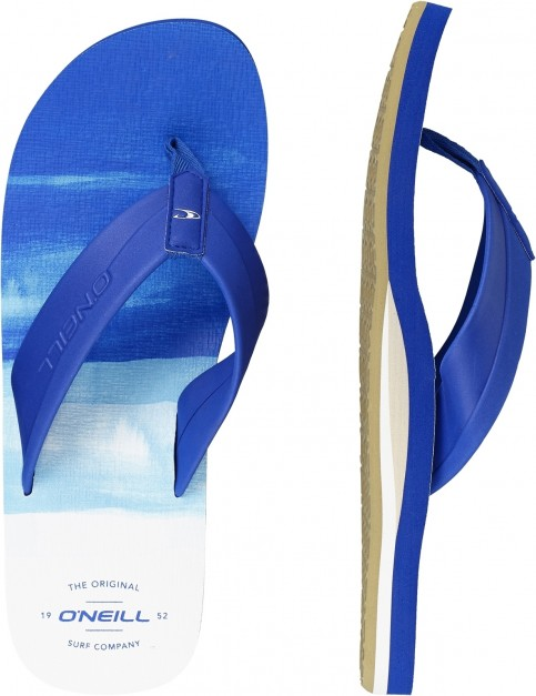 ONeill Imprint Pattern Flip Flops in Blue Aop