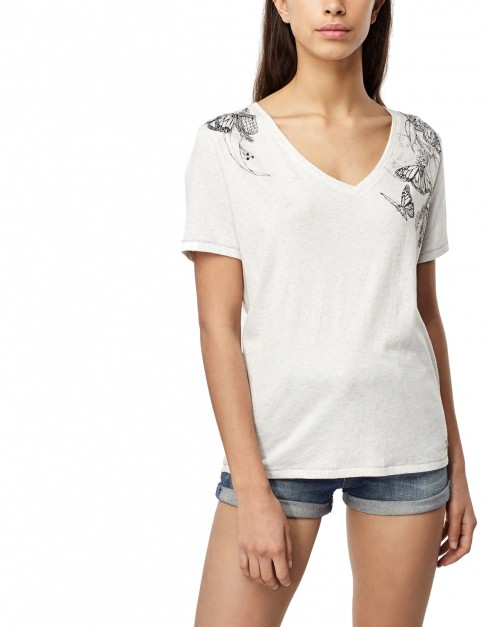 ONeill Marisa Short Sleeve T-Shirt in White Melee