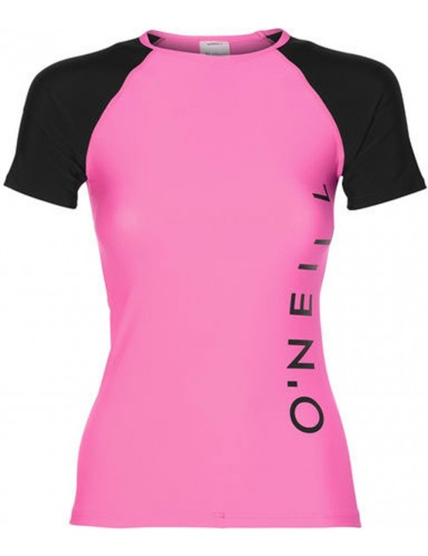 ONeill Sports Logo Skin Short Sleeve Rash Vest in Shocking Pink