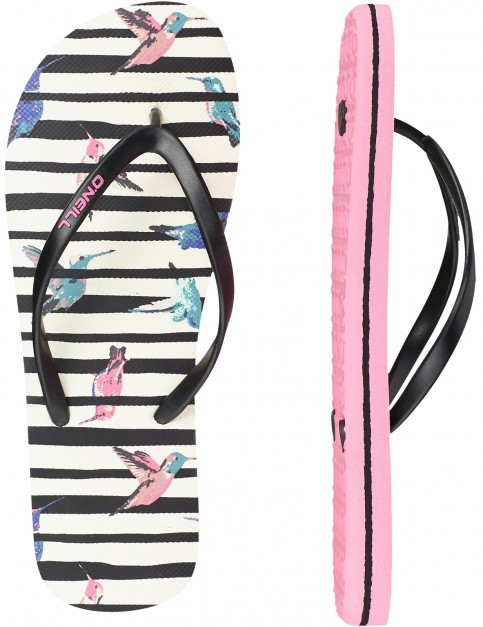ONeill Summer Print Canvas Sandals in White Aop W/ Pink With Blue