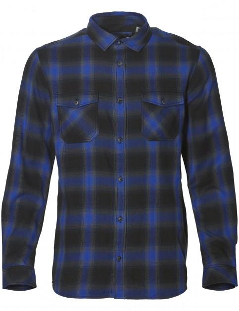 ONeill Violator Flannel Long Sleeve Shirt in Black Aop W/ Blue