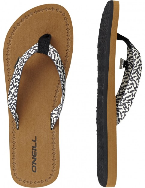 ONeill Woven Strap Canvas Sandals in Black Aop W/ White 1