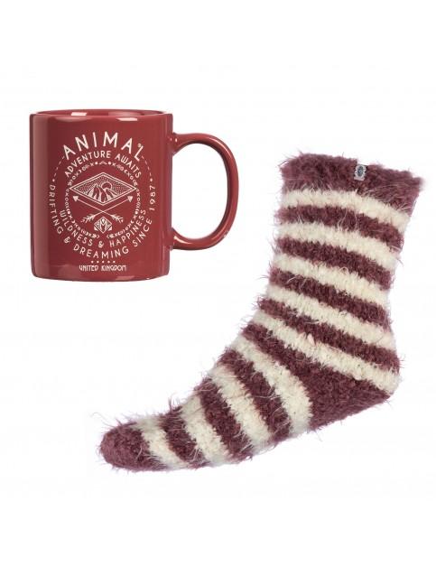 Animal Staycation Ceramic Mug & Sock Set Fun Stuff in Dusty Mauve Purple