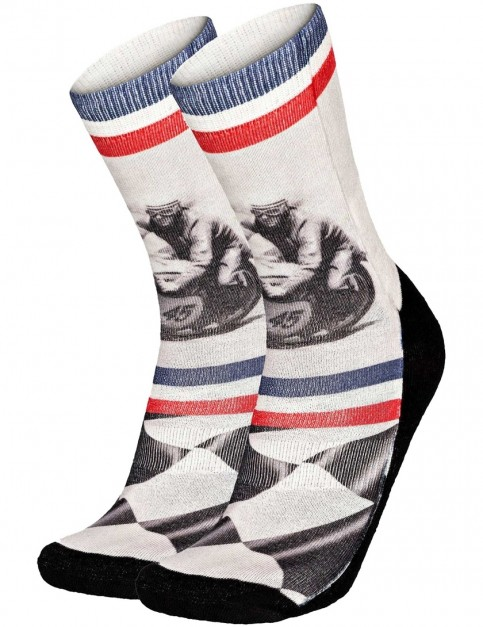 Pullin So-Long Moto Crew Socks in Multi