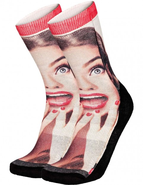 Pullin So-Long Pinup Crew Socks in Multi