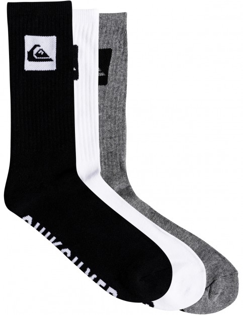 Quiksilver 3 Crew Pack Crew Socks in Assorted