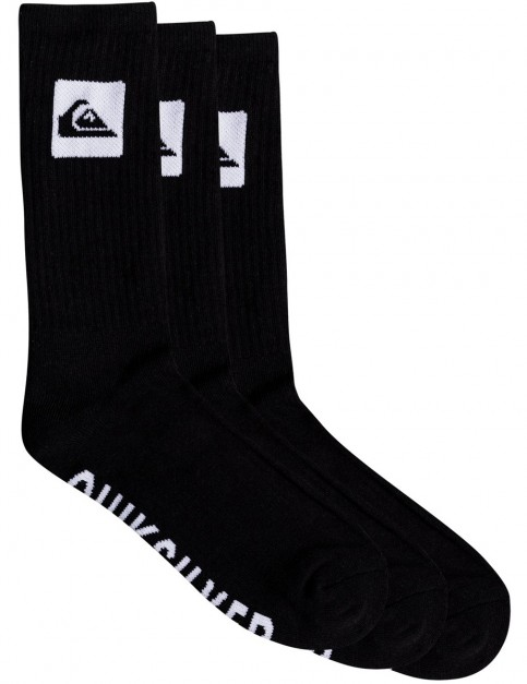 Quiksilver 3 Crew Pack Crew Socks in Black