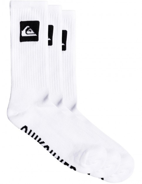 Quiksilver 3 Crew Pack Crew Socks in White