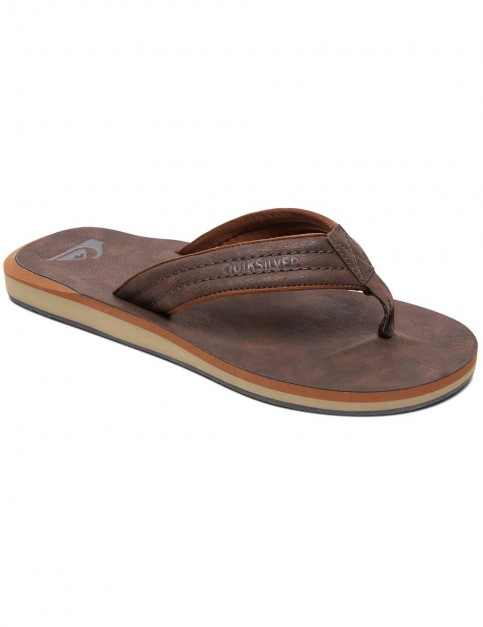 Quiksilver Carver Nubuck Leather Sandals in Demitasse
