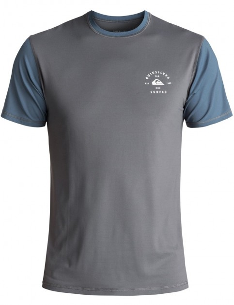 Quiksilver Colour Blocked Surf Tee SS Short Sleeve Rash Vest in Iron Gate