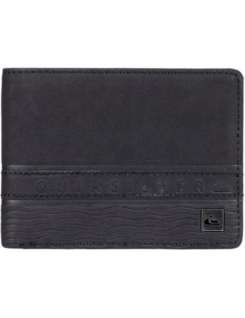 Quiksilver Everyday Stripe Faux Leather Wallet in Black