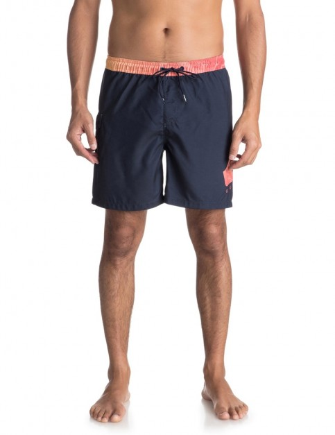 Quiksilver Lava Logo 17 inch Elasticated Boardshorts in Navy Blazer