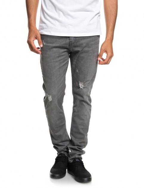 Quiksilver Low Bridge Grey Damaged Slim Fit Jeans in Grey Damaged