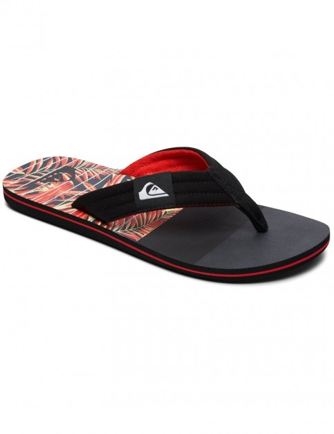 Quiksilver Molokai Layback Flip Flops in BLACK/BLACK/YELLOW