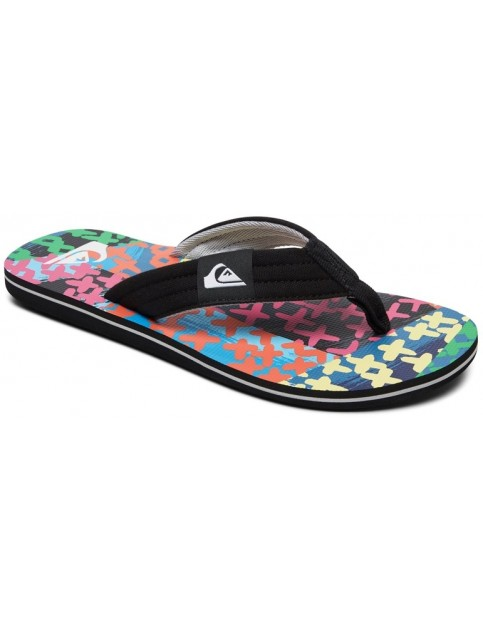 Quiksilver Molokai Layback Flip Flops in Black/Blue/Green