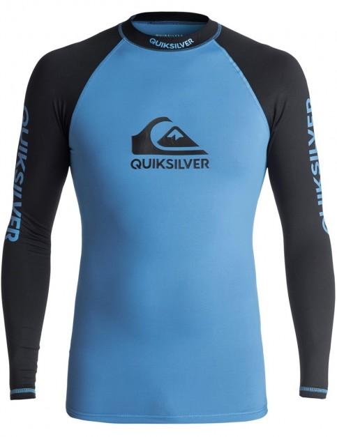 Quiksilver On Tour LS Short Sleeve Rash Vest in Brilliant Blue/ Blac