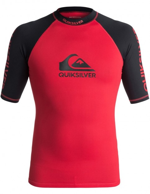 Quiksilver On Tour Short Sleeve Rash Vest in Quik Red/ Black