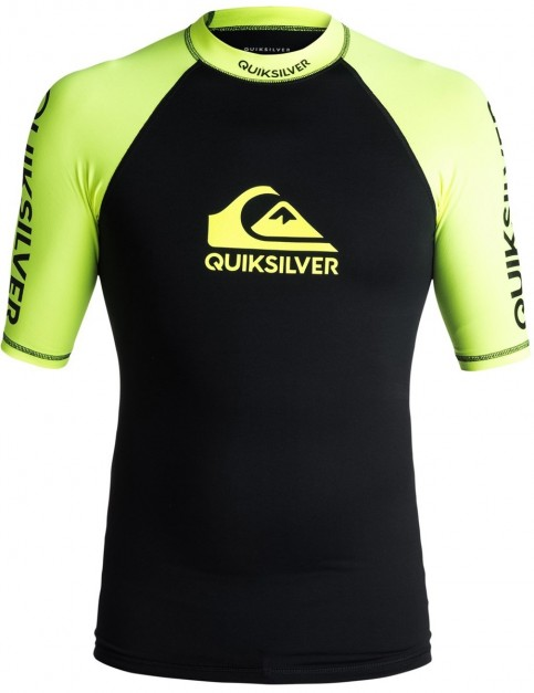 Quiksilver On Tour SS Short Sleeve Rash Vest in Safety Yellow/ Black