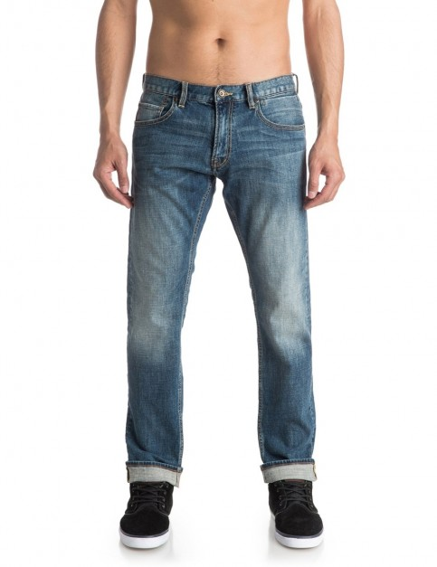 Quiksilver Revolver Straight Fit Jeans in Medium Blue