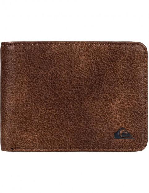 Quiksilver Slim Vintage Faux Leather Wallet in Bear