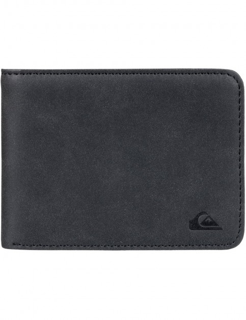 Quiksilver Slim Vintage Faux Leather Wallet in Black