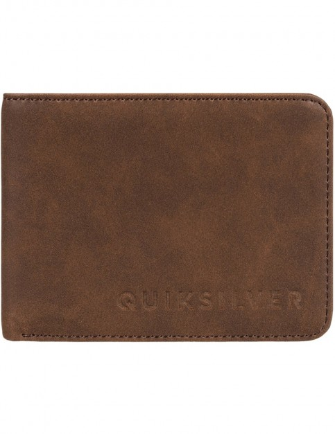Quiksilver Slim Vintage II Faux Leather Wallet in Coffee Liqueur
