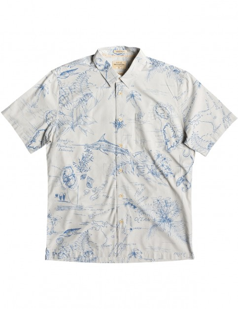 Quiksilver Waterman Pacific Records Short Sleeve Shirt in Lunar Rock