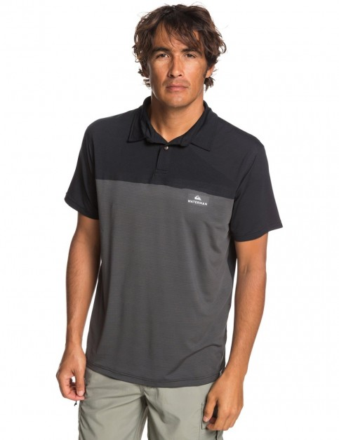 Quiksilver Waterman Paddle Runner Polo Shirt in Black