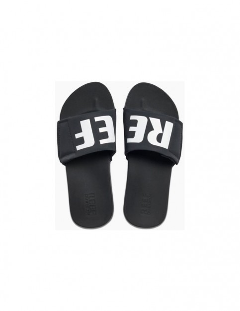 Reef Cushion Bounce Slide Sliders in Black/White/Logo