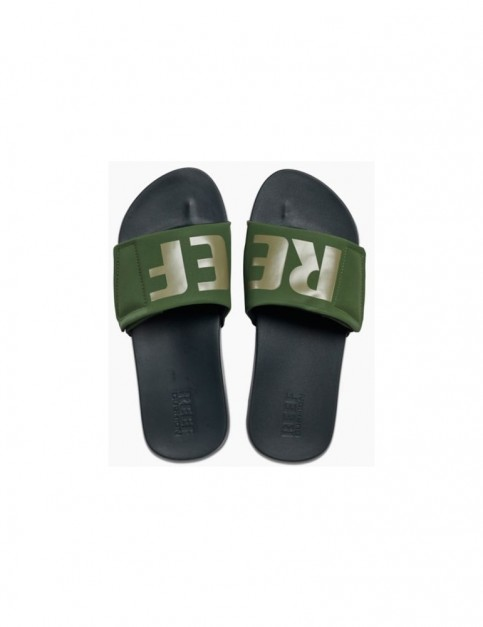 Reef Cushion Bounce Slide Sliders in Olive Grey/Logo