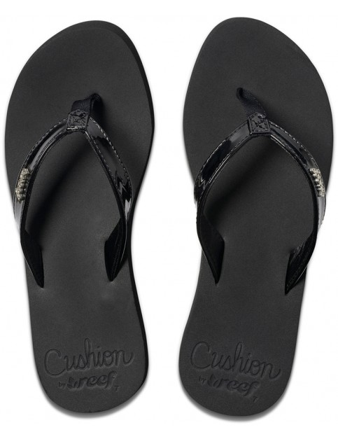 Reef Cushion Luna Flip Flops in Black Patent