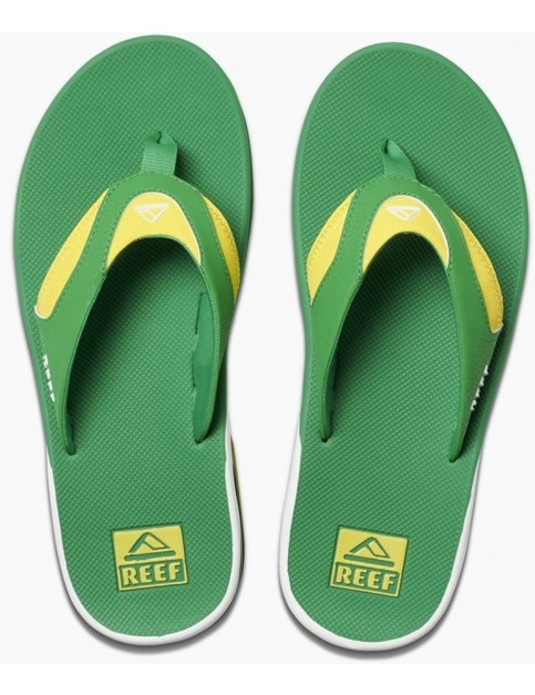 Reef Fanning Flip Flops in Green/Yellow