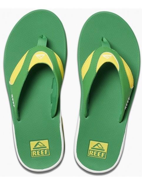 Reef Fanning Flip Flops in Green/Yellow