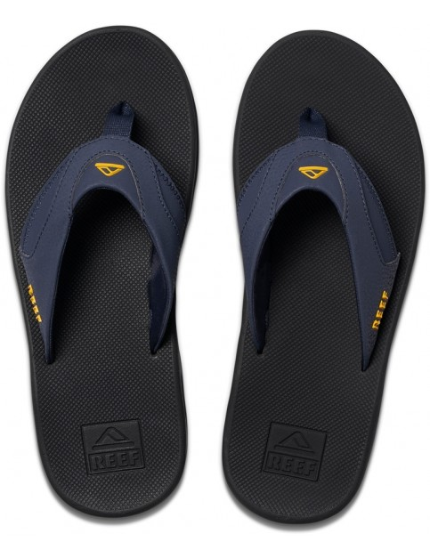 Reef Fanning Flip Flops in Navy/Yellow