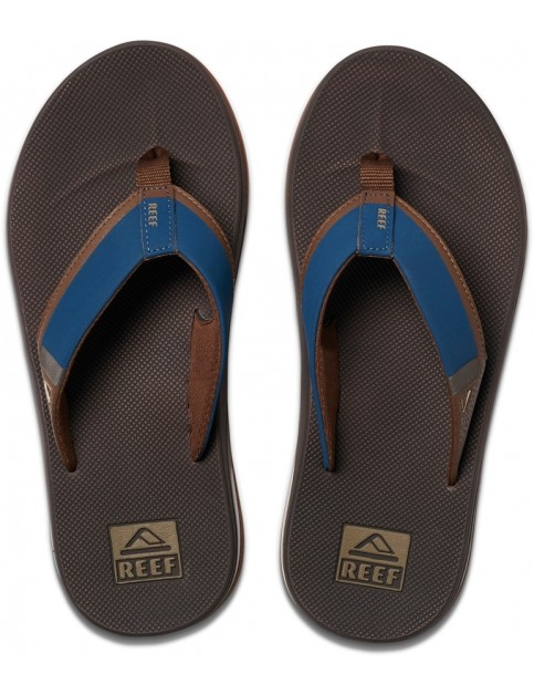 Reef Fanning Low Flip Flops in Navy/Brown
