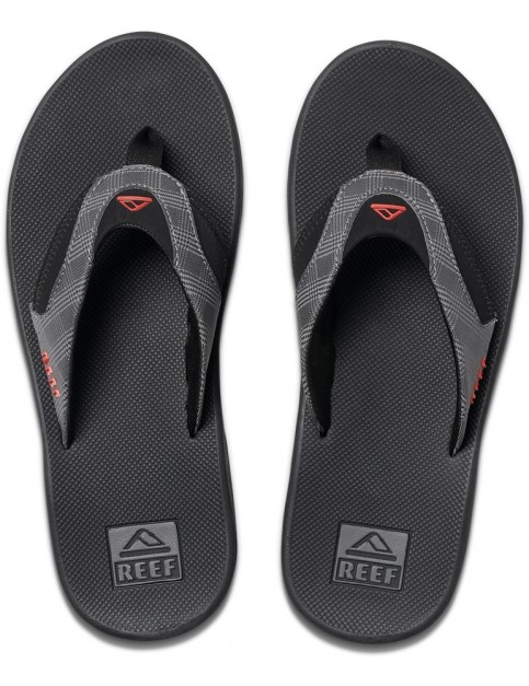 Reef Fanning Prints Flip Flops in Grey Plaid/ Black