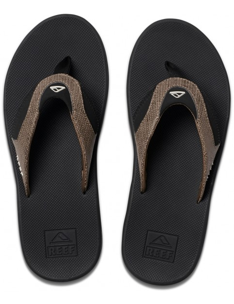 Reef Fanning Prints Flip Flops in Tan Woven