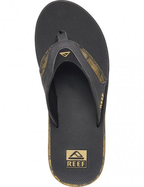 Black/Gold Reef Fanning Prints Sport Sandals