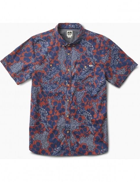 Reef Flower Specks Polo Shirt in Blue