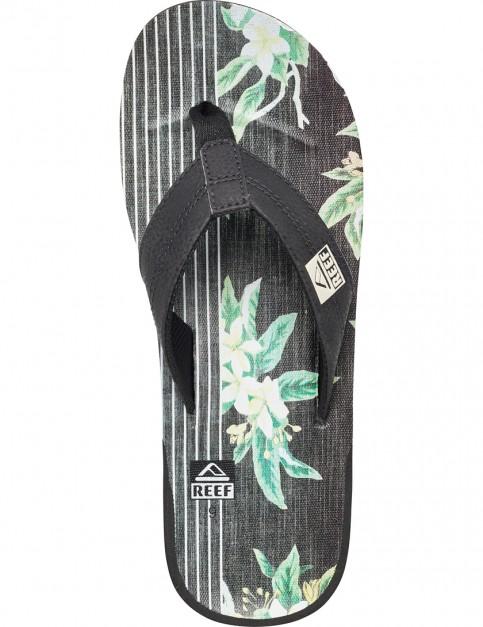 Black/Floral Reef Ht Prints Flip Flops