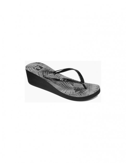 Reef Krystal Star Prints Wedge Sandals in Black Tropic