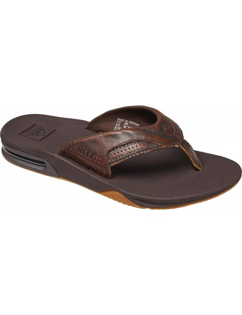 Reef Leather Fanning Lux Leather Sandals in Vintage Brown