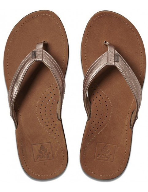 Reef Miss J-Bay Leather Sandals in Rose Gold