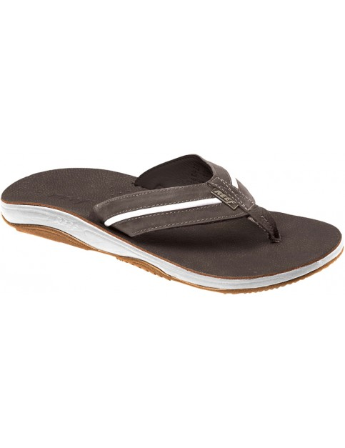 Reef Playa Cervesa Leather Sandals in Dark Brown/White