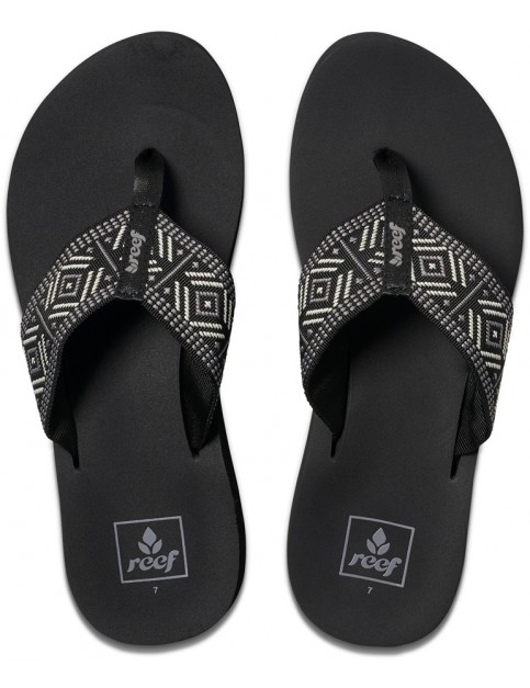 Reef Spring Woven Flip Flops in Black/White